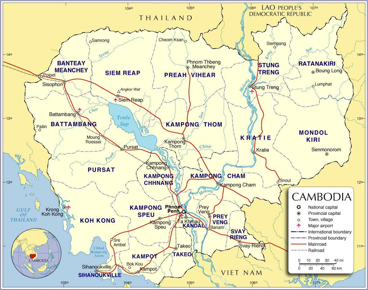 Kambodscha Karte.Cambodia Road Map Karte Von Kambodscha Strasse Sud Ost