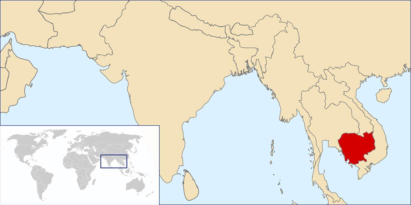 Kambodscha Auf Der Weltkarte Karte Von Kambodscha Auf Der