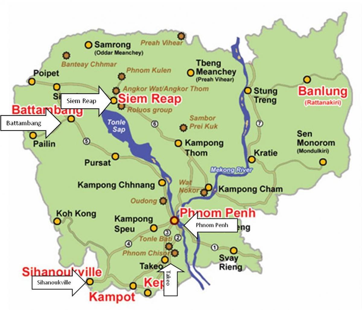 Kambodscha Karte.Kambodscha River Karte Karte Von Kambodscha Fluss Sud Ost