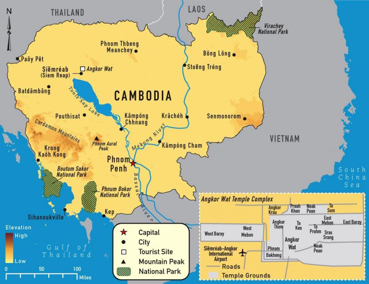 Karte Von Kambodscha Angkor Wat Angkor Landkarte Kambodscha Sud